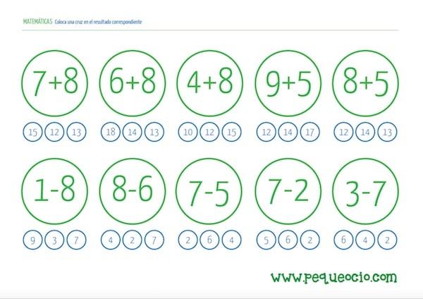 24 fichas de matemáticas para descargar gratis - Pequeocio