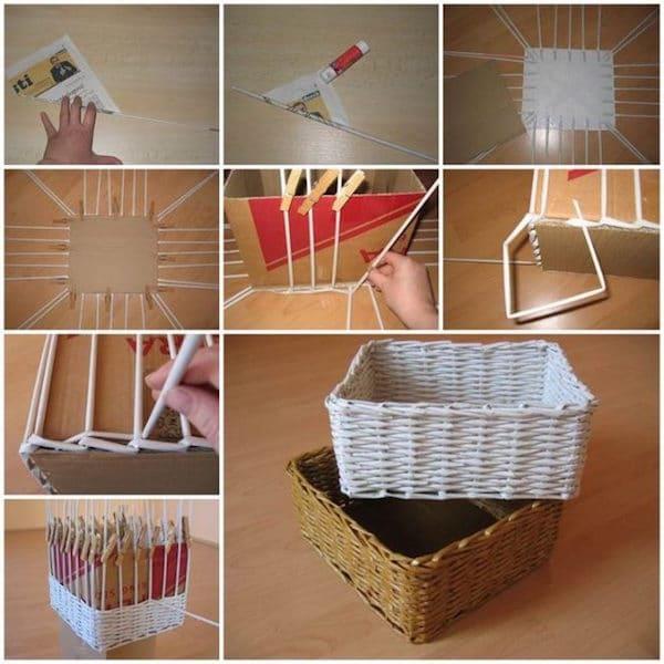 C mo hacer cestas con peri dicos pequeocio - Cestas de papel de periodico paso a paso ...