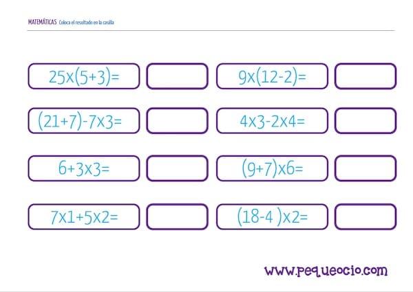 Descarga Gratis Fichas De Matematicas Para Primaria Pequeocio Com