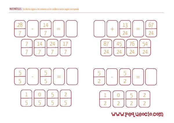 Descarga gratis fichas de matemáticas para primaria - Pequeocio