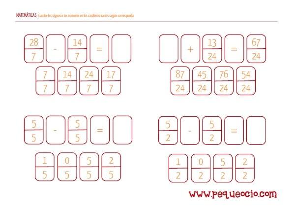 Descarga gratis fichas de matemáticas para primaria | Pequeocio.com