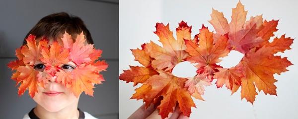 Manualidades para niños: antifaz de hojas