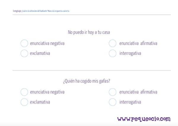 Fichas de lenguaje para imprimir gratis