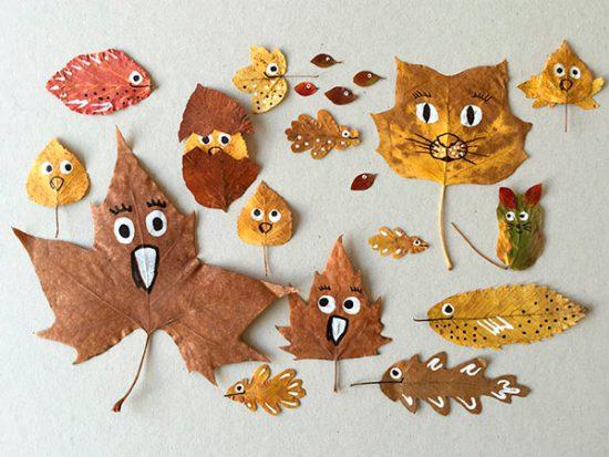 Manualidades para niños con hojas de otoño