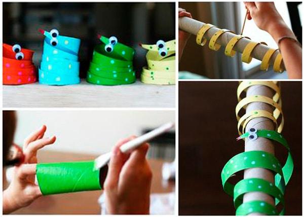 Manualidades infantiles: serpiente de tubos de cartón