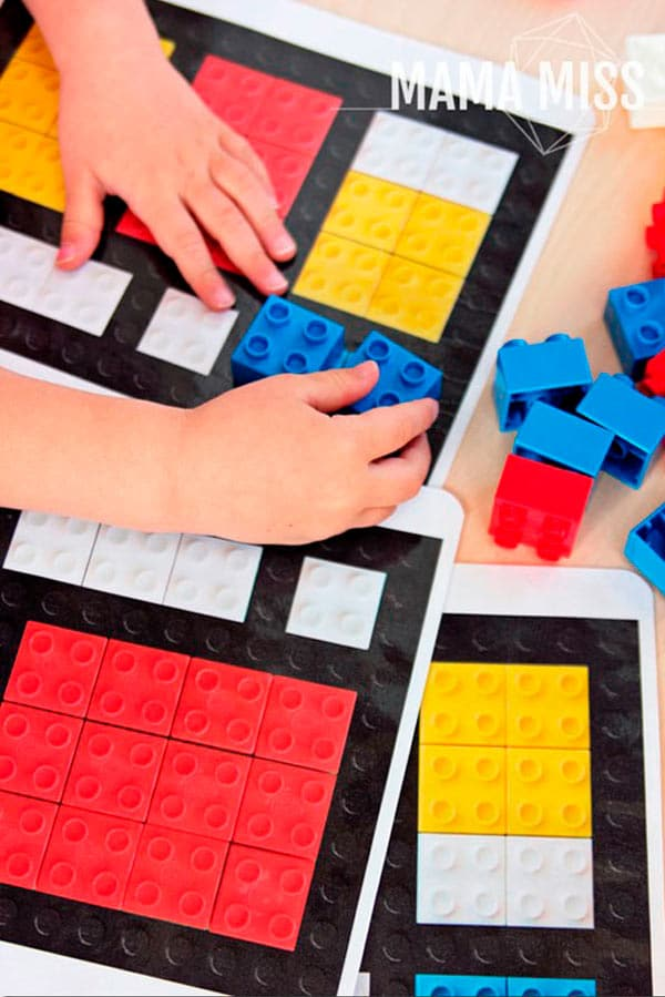 Manualidades infantiles: lego_mondrian