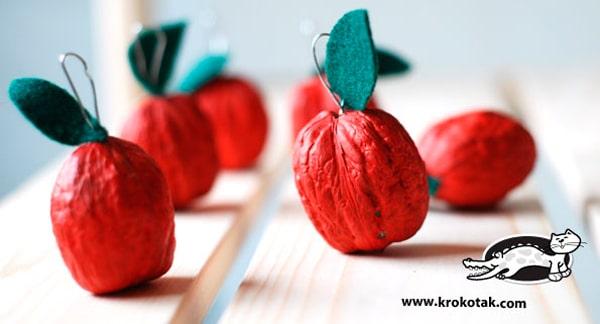Manualidades para niños con nueces: manzanas