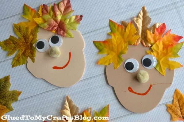 Manualidades para niños: caras decoradas con hojas