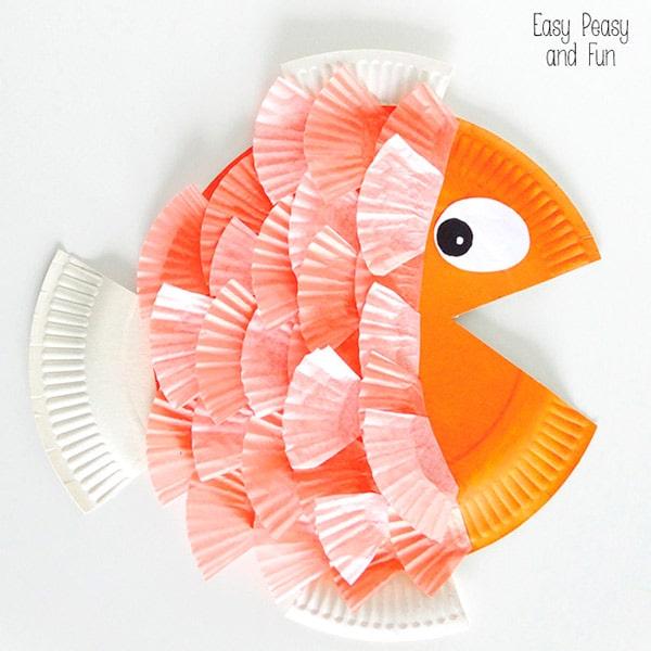6 manualidades infantiles con platos de papel bajo el mar - Como hacer color naranja ...
