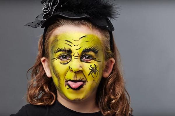 maquillaje de bruja verde para ninas