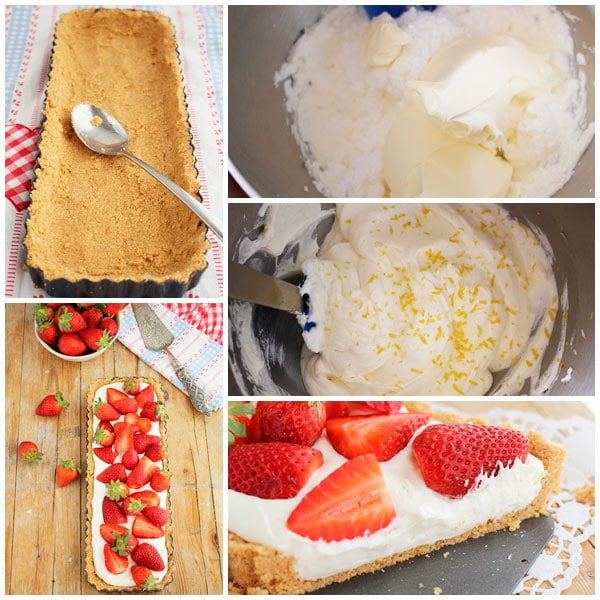 tarta queso y fresas sin horno