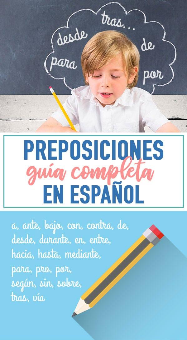 preposiciones lista español