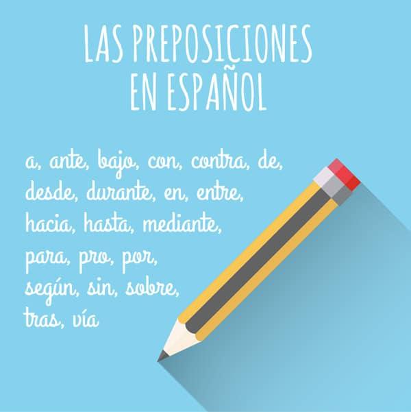 Lista De Preposiciones En Español Con Ejemplos