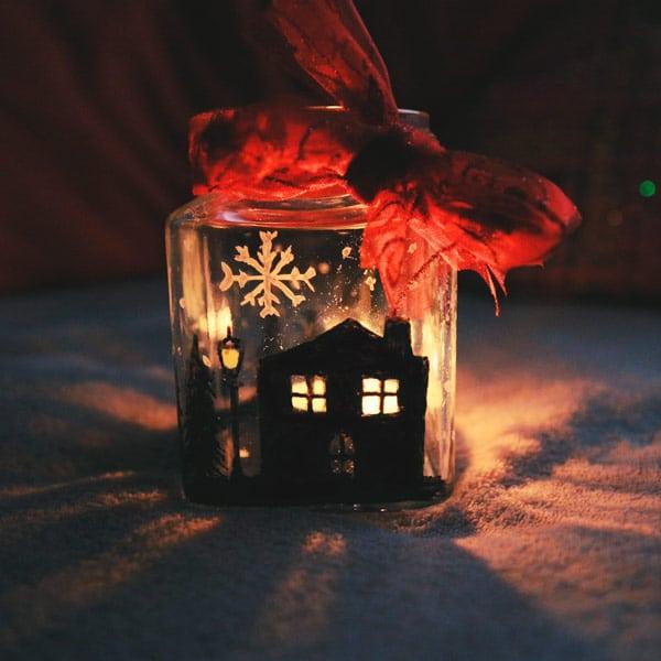 Cómo hacer un portavelas navideño 5