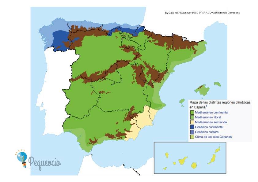 Mapa de España climático