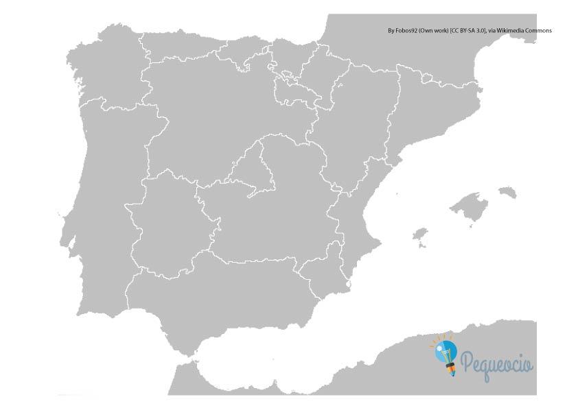 Mapa mudo de España por comunidades