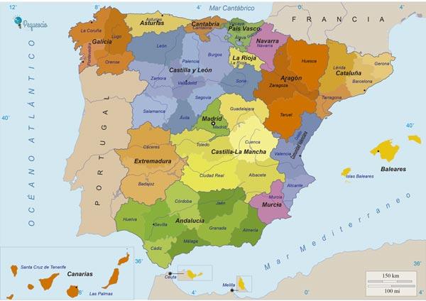 Mapa De Espana Fisico Politico Y Mudo Para Imprimir Pequeocio