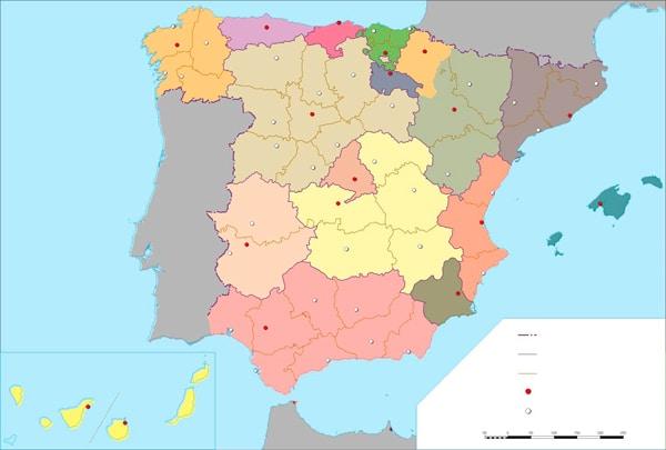 mapa mudo de España por provincias