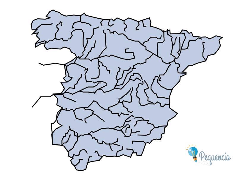 Mapa mudo de los ríos de España