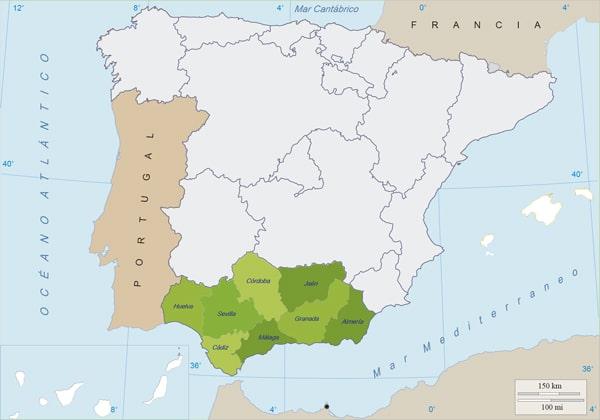 Mapa Rios De Andalucia.Mapa De Andalucia Fisico Y Politico Para Imprimir Y Estudiar
