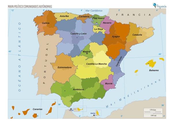 mapa político España comunidades autónomas