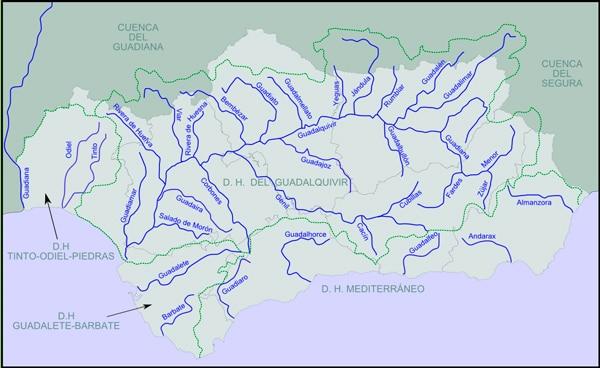 mapa rios de andalucia