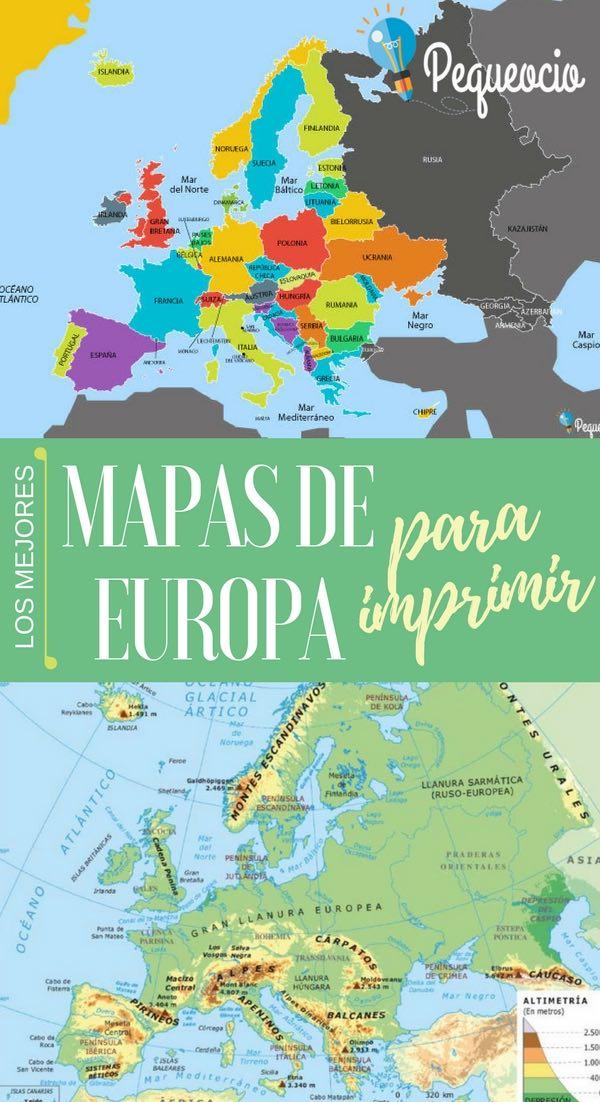 Mapa físico, político y mudo de Europa