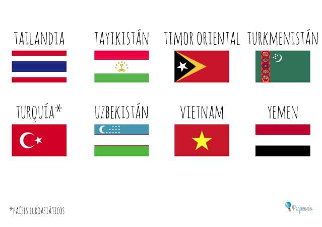Banderas del asia con nombres