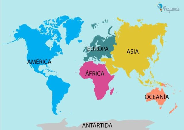 Mapa de los continentes
