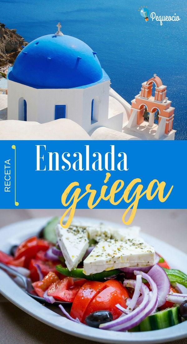 Ensalada griega. Cómo hacer la receta original de la ensalada griega, una ensalada mediterránea con ingredientes como el tomate, pepino, pimiento cebolla, queso feta y aceitunas Kalamata griegas.