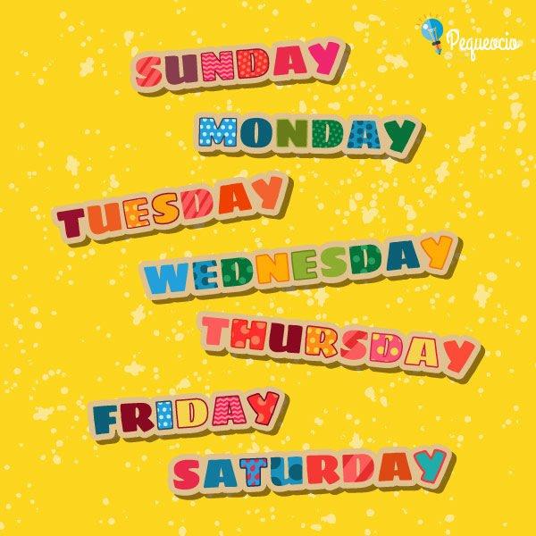 Días de la semana inglés