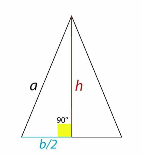 altura del triángulo isósceles