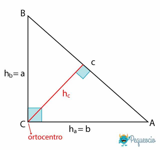 cómo calcular altura de un triángulo rectángulo