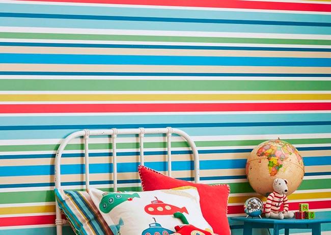 papel pintado infantil rayas colores