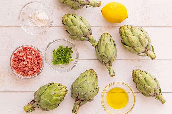 Ingredientes alcachofas con jamon