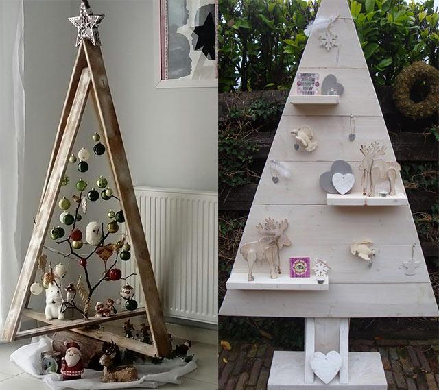 árboles navideños de madera