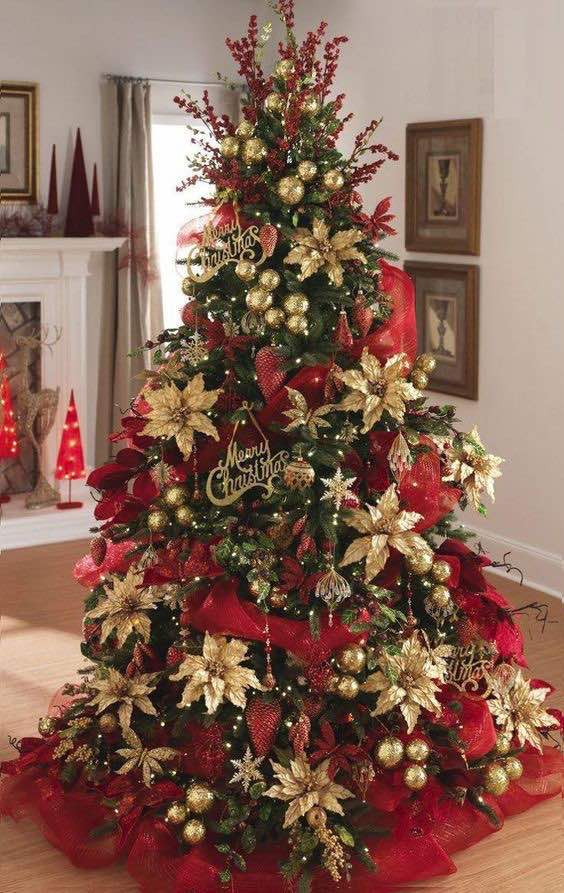 árboles de Navidad en rojo