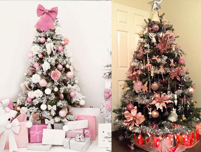 árboles de Navidad de color rosa