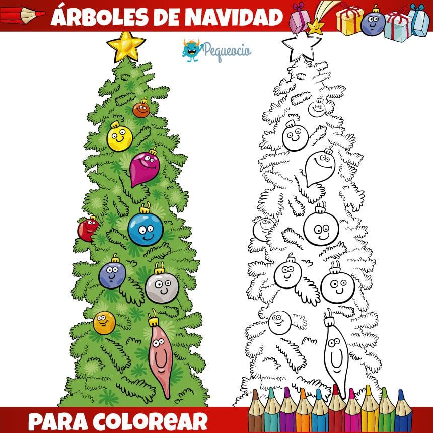 dibujos de árboles de Navidad para imprimir