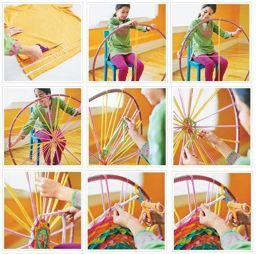 Cómo hacer una alfombra fácil con trapillo y un Hula Hoop 1