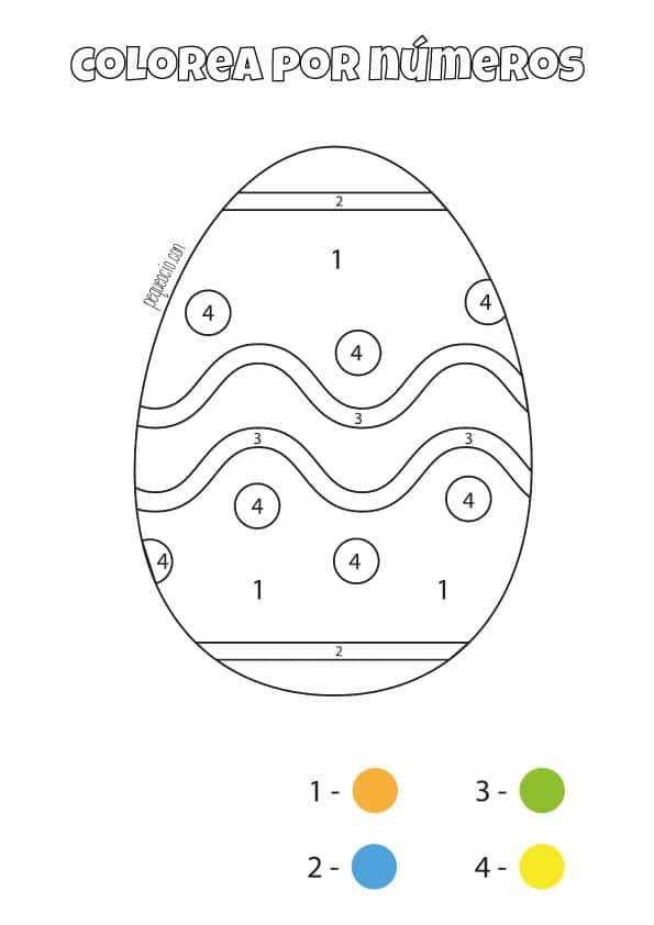 Dibujos de Pascua para colorear por números