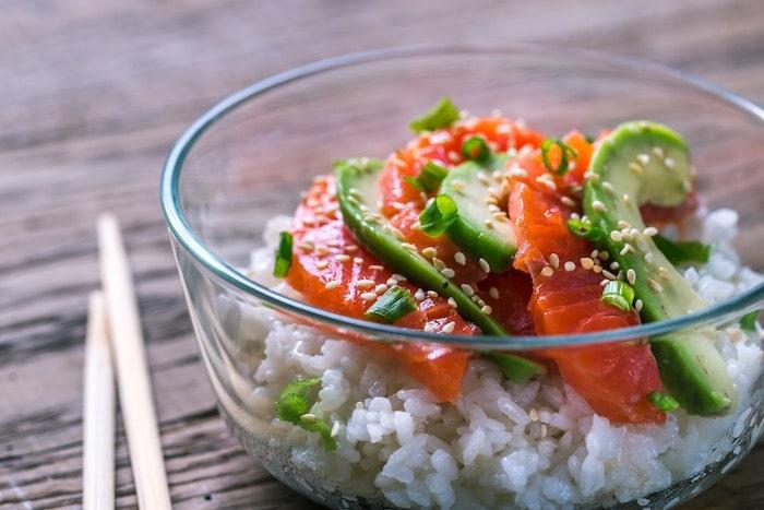 Ensalada de arroz y salmón