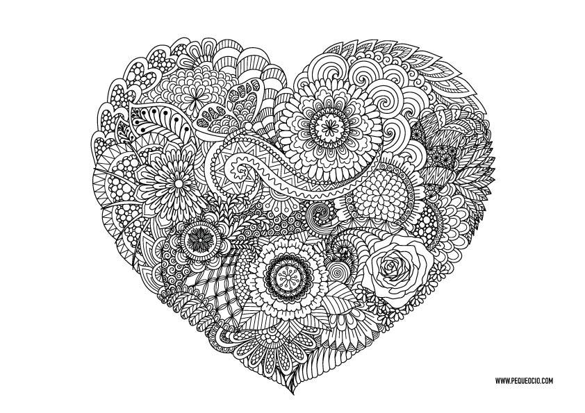 mandalas para colorear de corazones