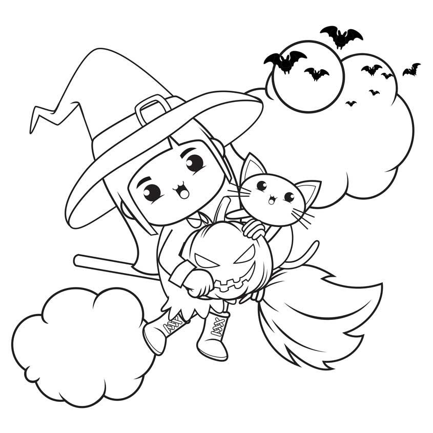brujas de halloween kawaii para colorear