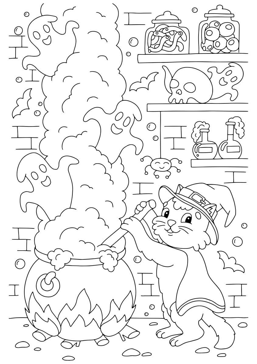 dibujos faciles de brujas para colorear