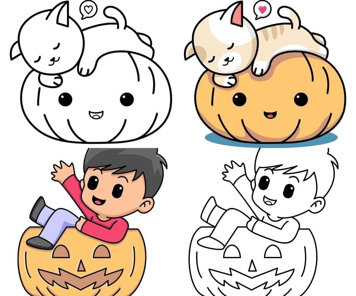 kawaii halloween para colorear
