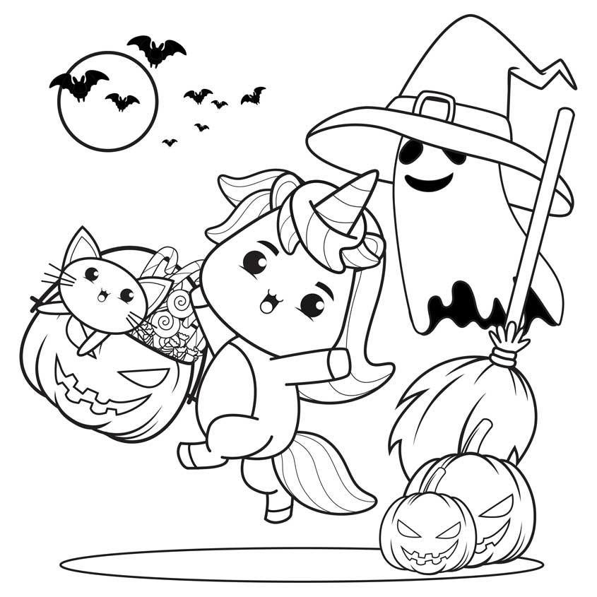 kawaii halloween para colorear dibujos
