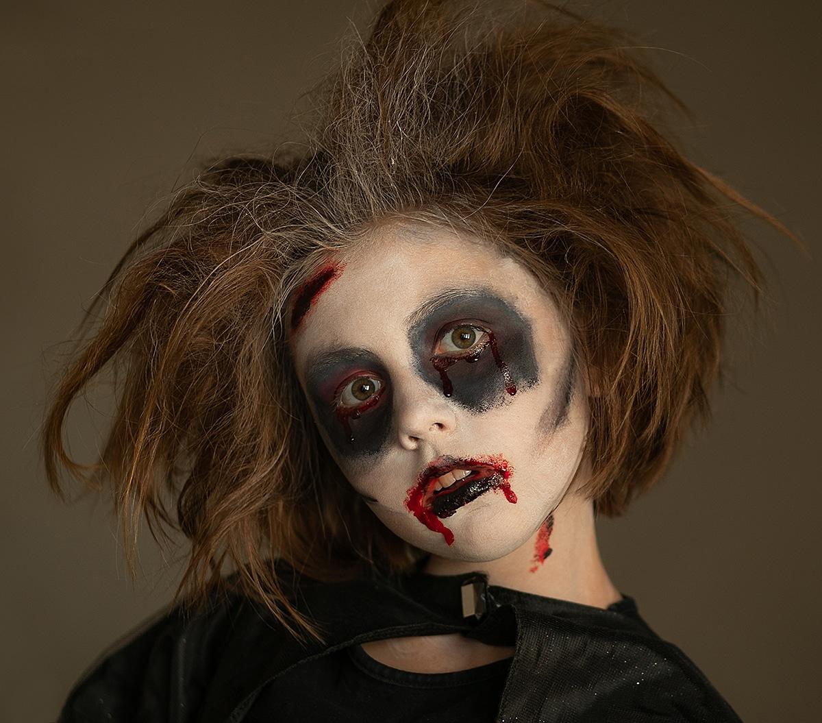 maquillaje de zombie para niños