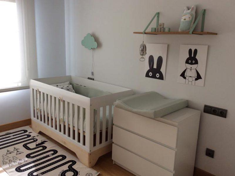 habitacion infantil blanco y mint